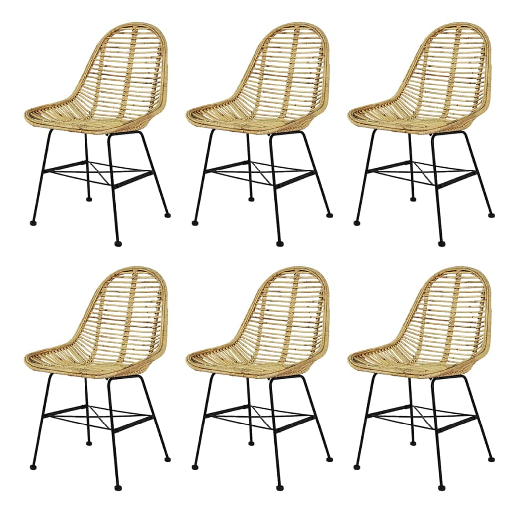 Dining Chairs 6 pcs Natural Rattan 1