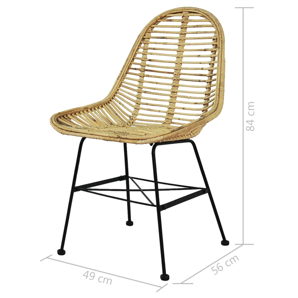 Dining Chairs 6 pcs Natural Rattan 5