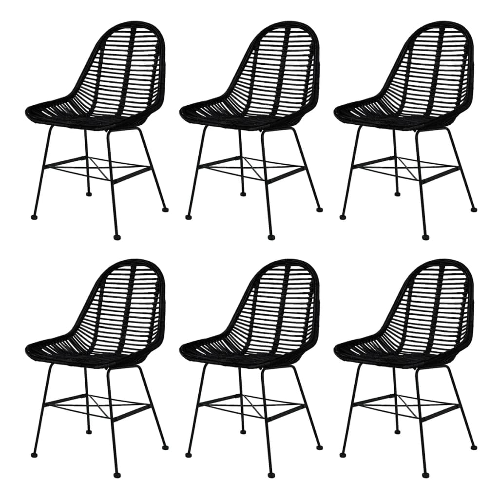 Dining Chairs 6 pcs Black Natural Rattan