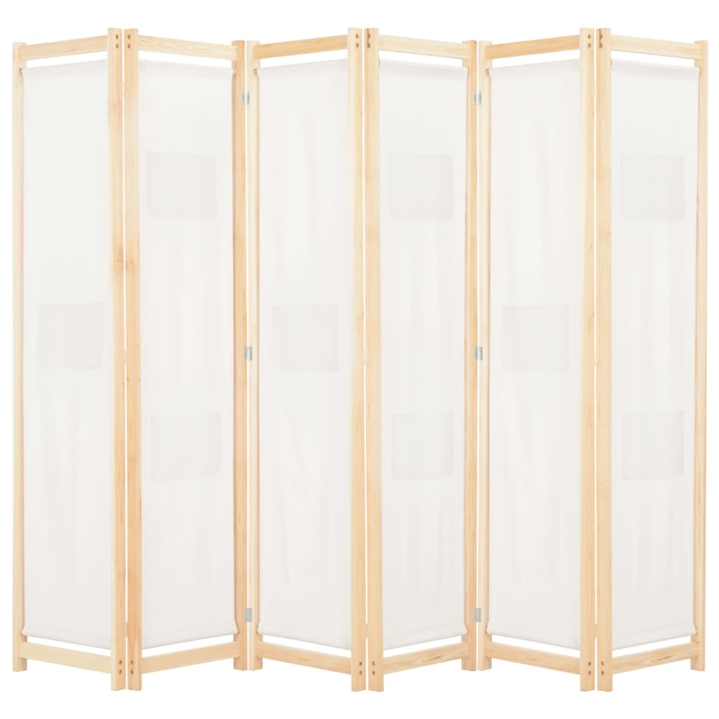 6-Panel Room Divider Cream 240x170x4 cm Fabric 1