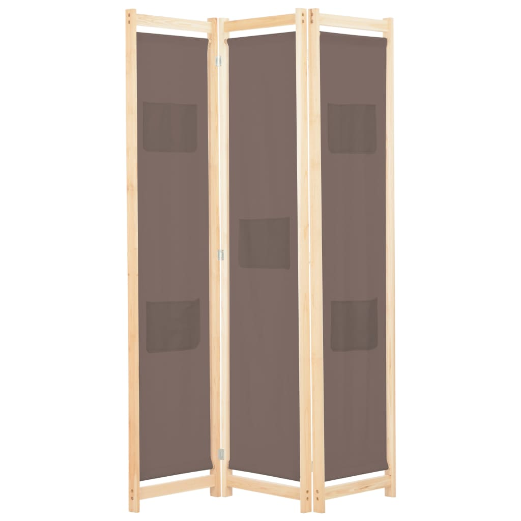 3-Panel Room Divider Brown 120x170x4 cm Fabric