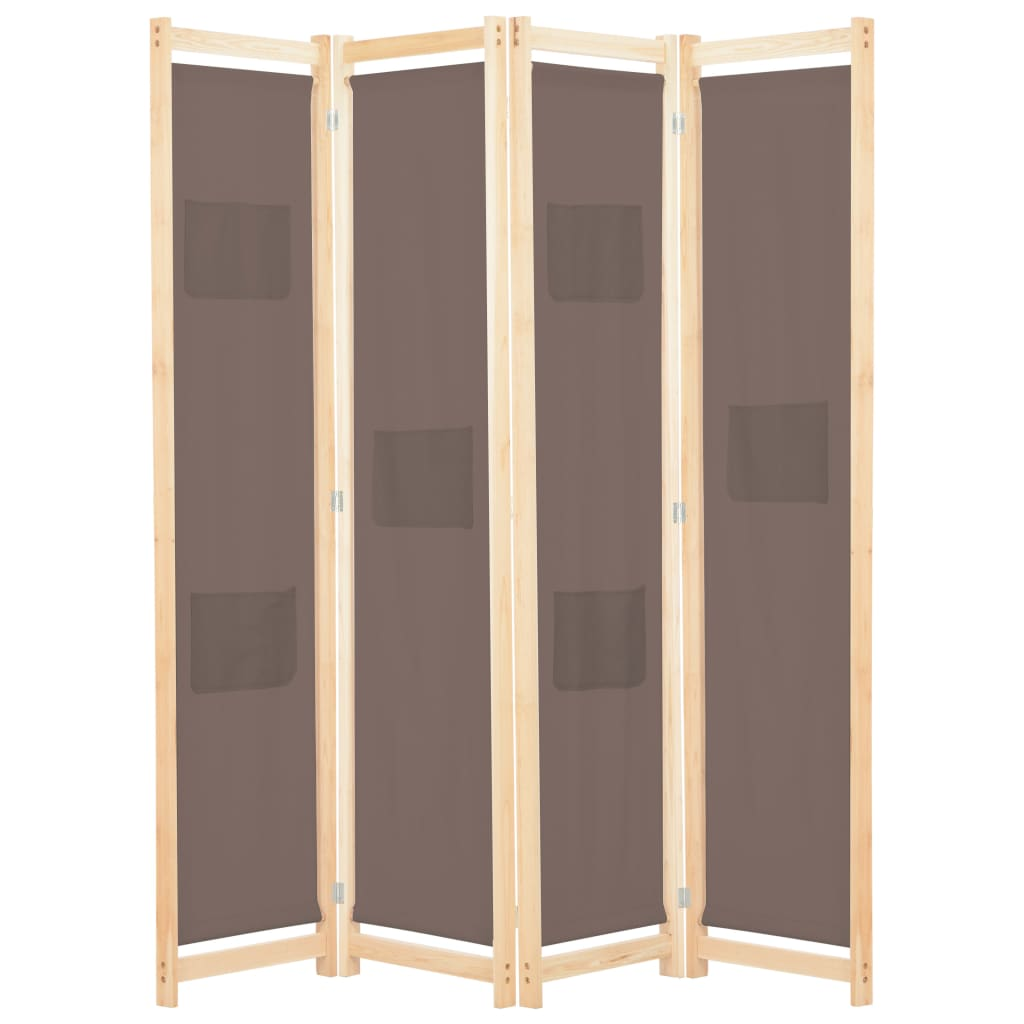 4-Panel Room Divider Brown 160x170x4 cm Fabric