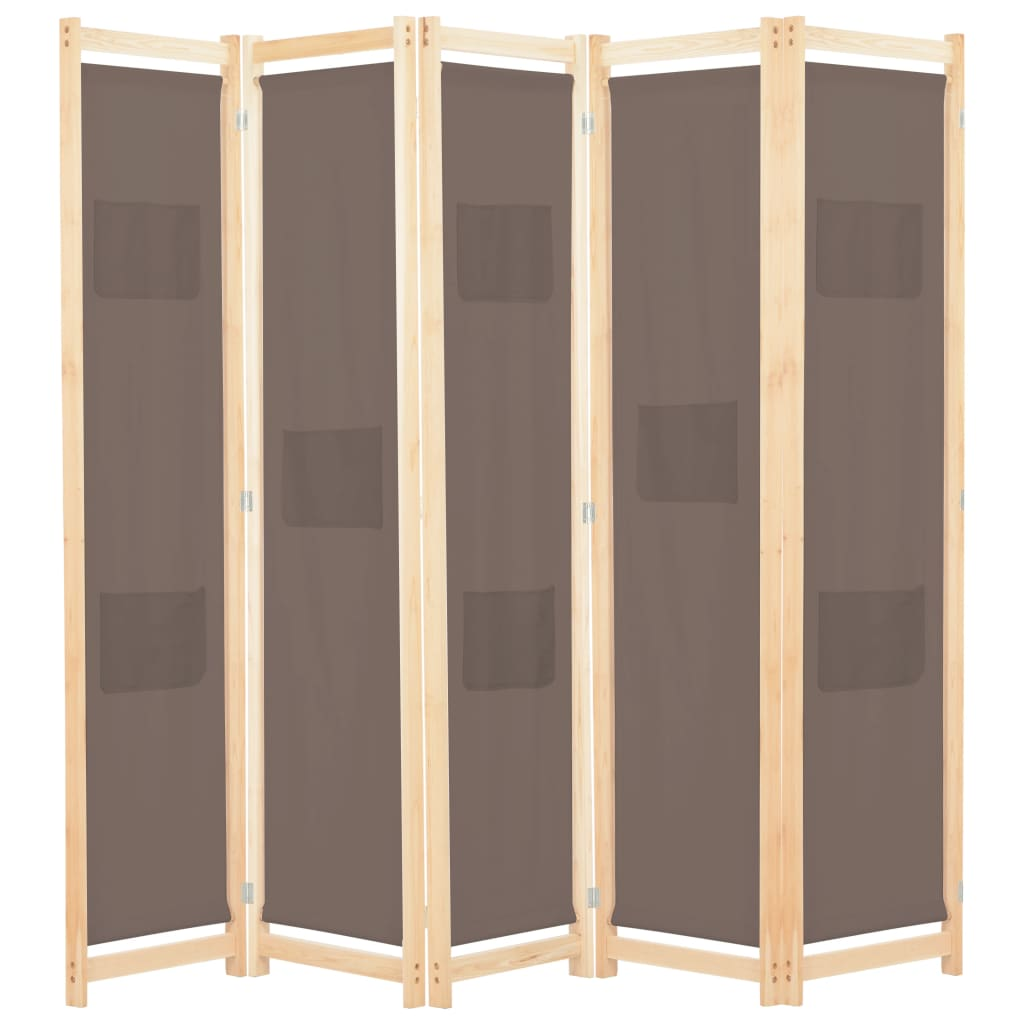 5-Panel Room Divider Brown 200x170x4 cm Fabric 1