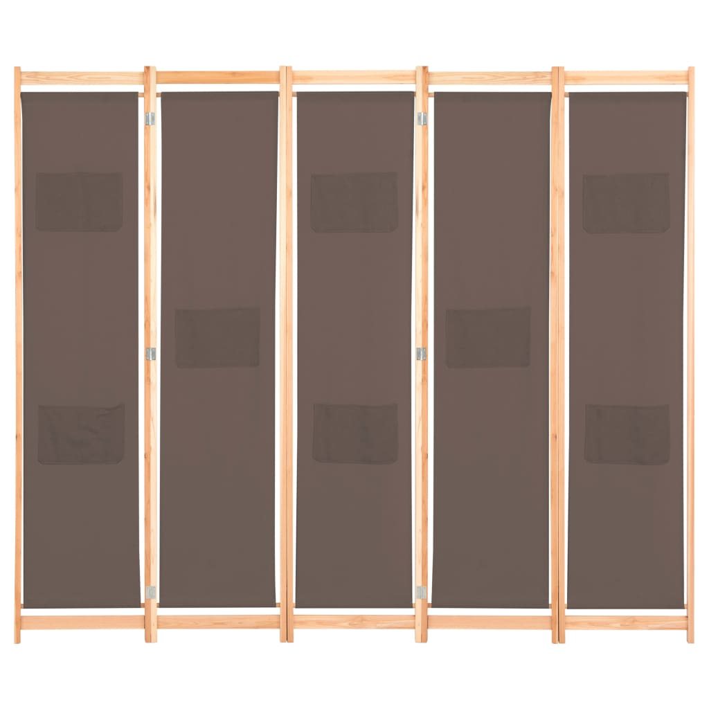 5-Panel Room Divider Brown 200x170x4 cm Fabric 2