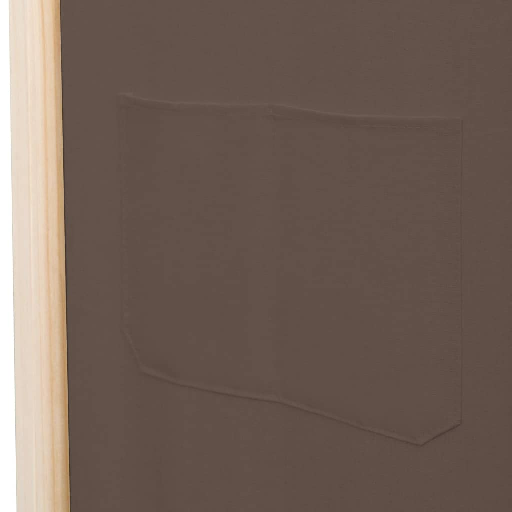 5-Panel Room Divider Brown 200x170x4 cm Fabric 7