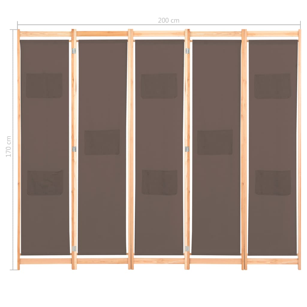 5-Panel Room Divider Brown 200x170x4 cm Fabric 8