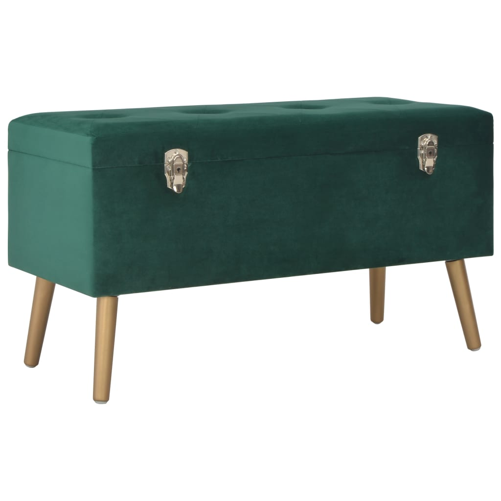Bench with Storage Compartment 80 cm Green Velvet