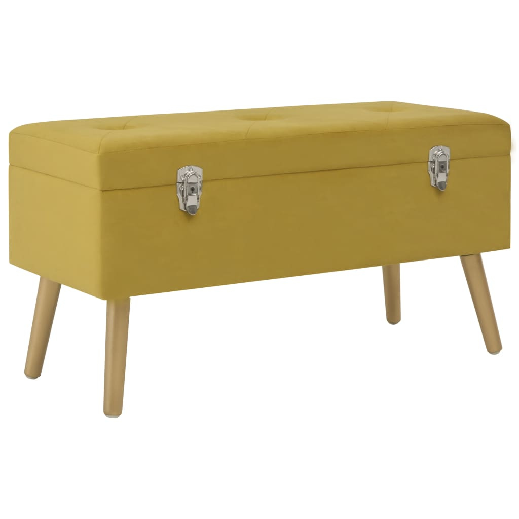 Bench with Storage Compartment 80 cm Mustard Velvet 1
