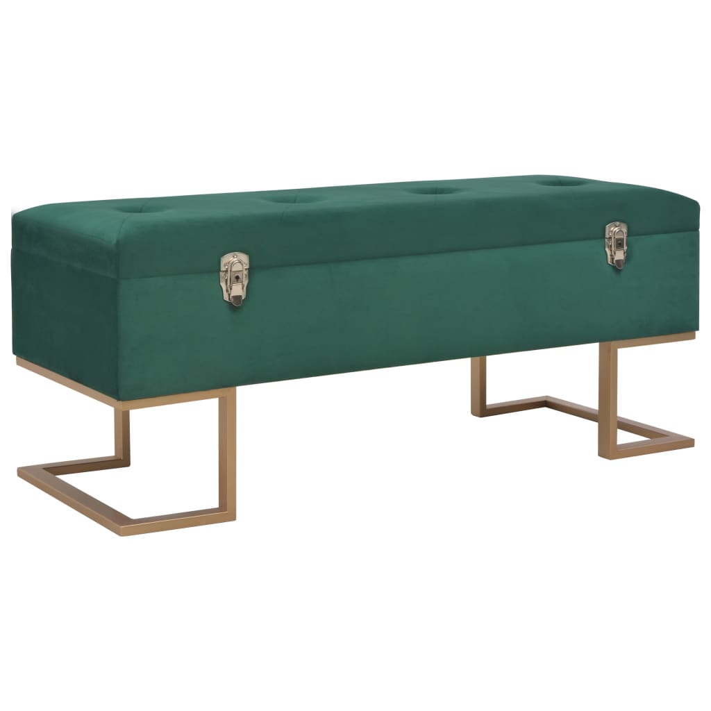 Bench with Storage Compartment 105 cm Green Velvet 1