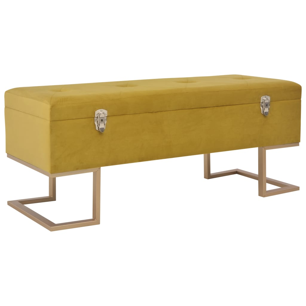 Bench with Storage Compartment 105 cm Mustard Velvet 1