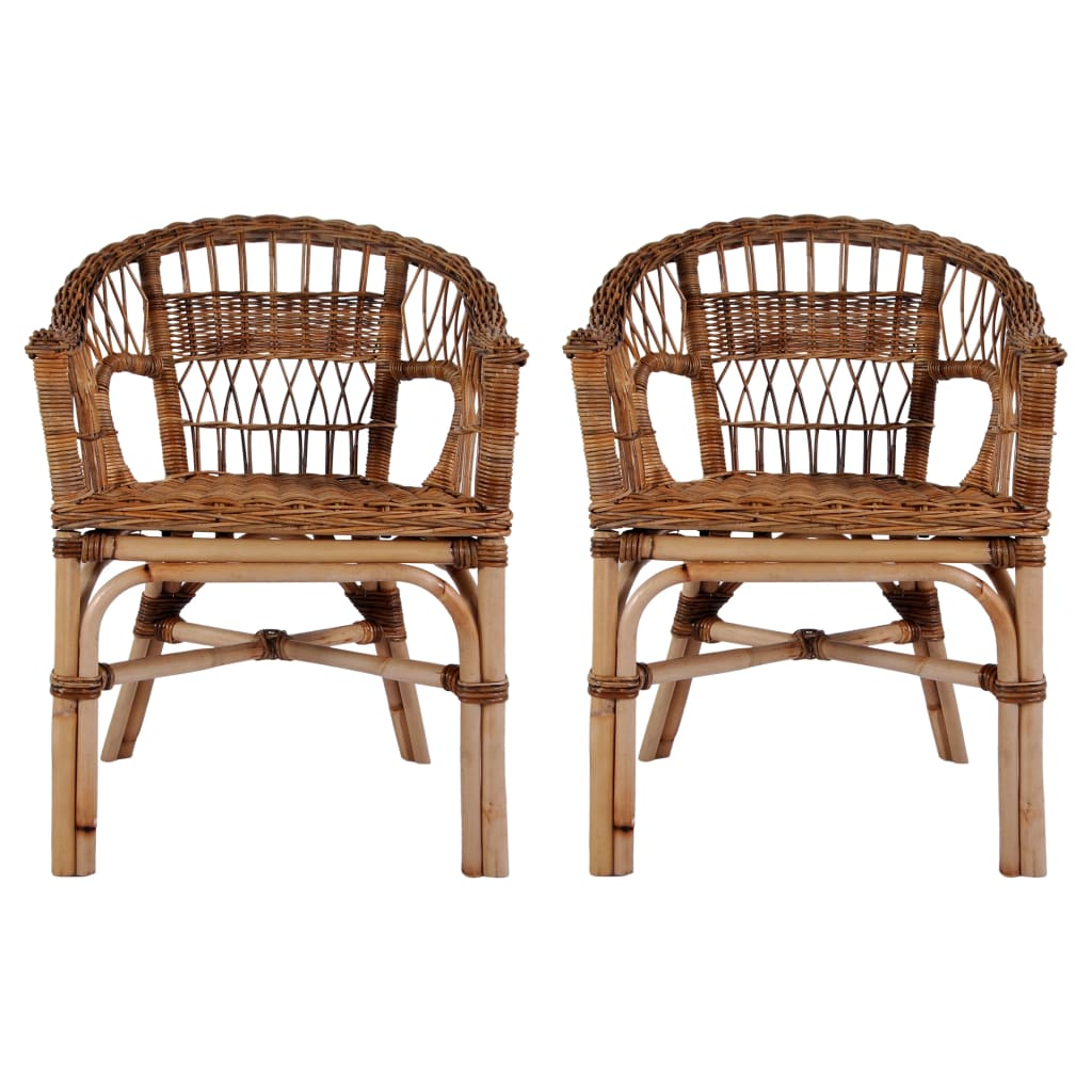 Outdoor Chairs 2 pcs Natural Rattan Brown 1