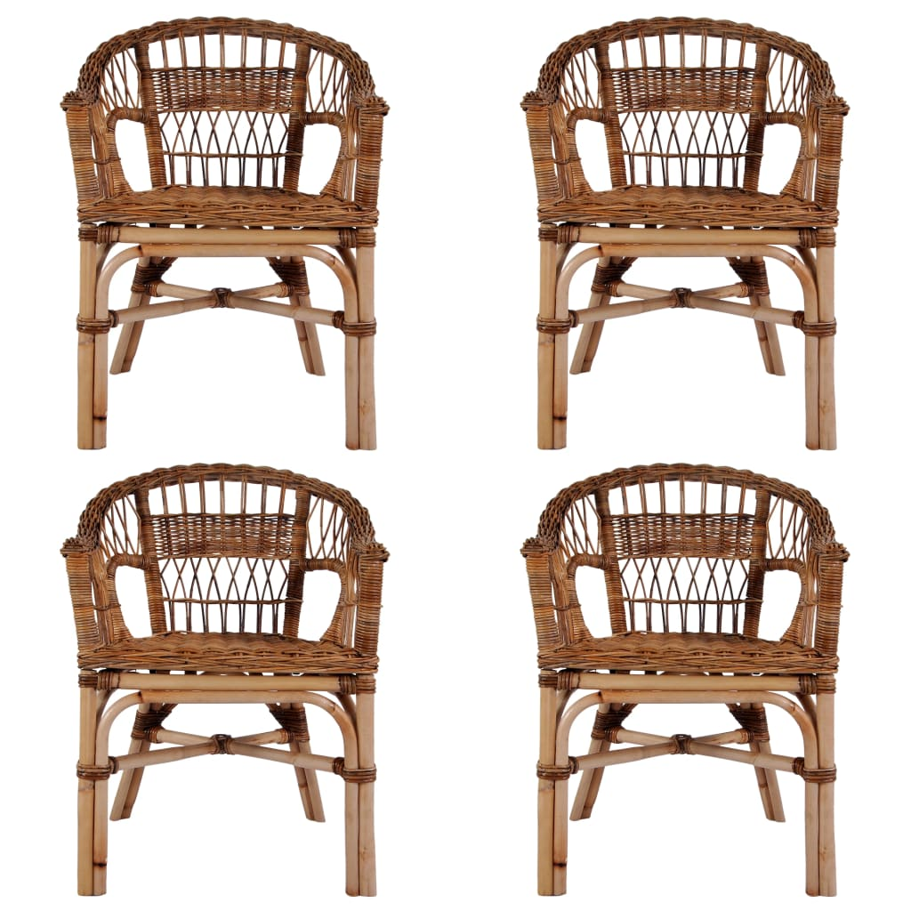 Outdoor Chairs 4 pcs Natural Rattan Brown 1