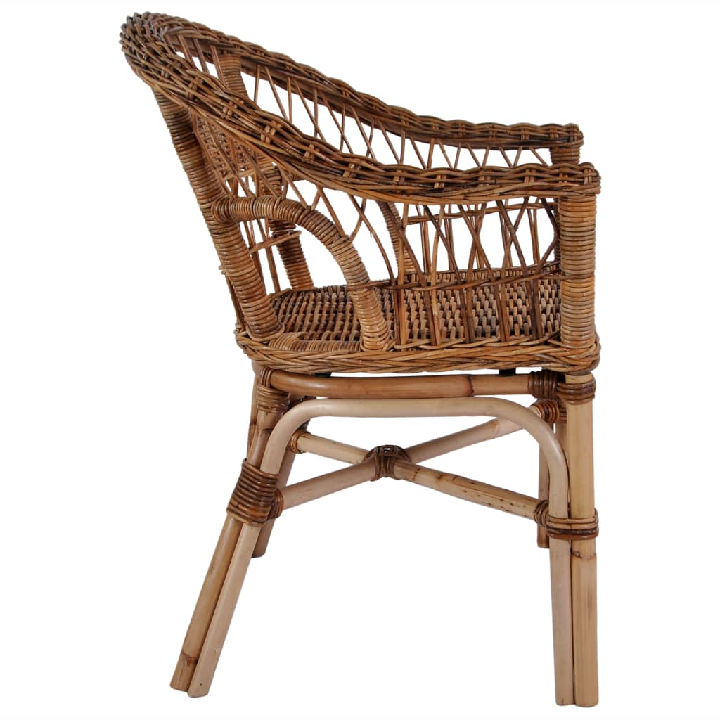 Outdoor Chairs 4 pcs Natural Rattan Brown 4