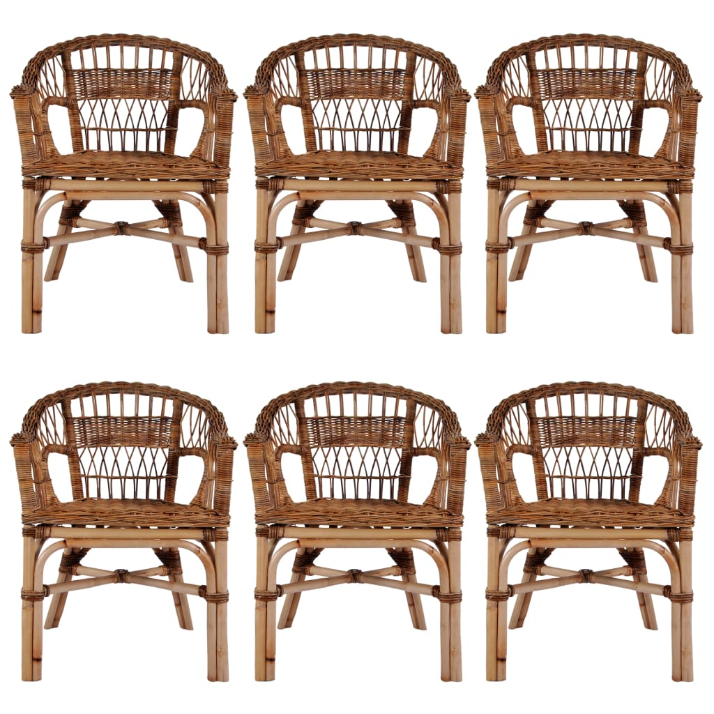 Outdoor Chairs 6 pcs Natural Rattan Brown