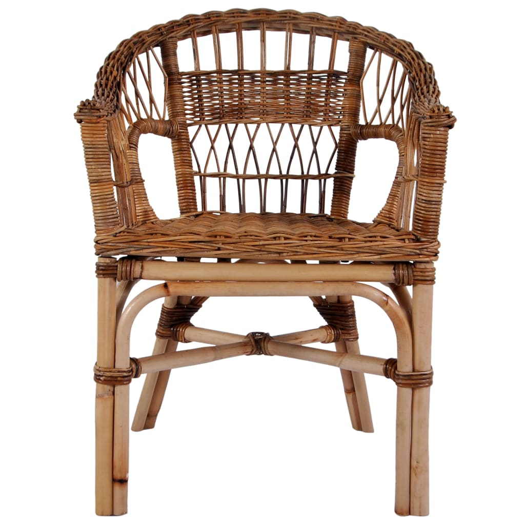Outdoor Chairs 6 pcs Natural Rattan Brown 2