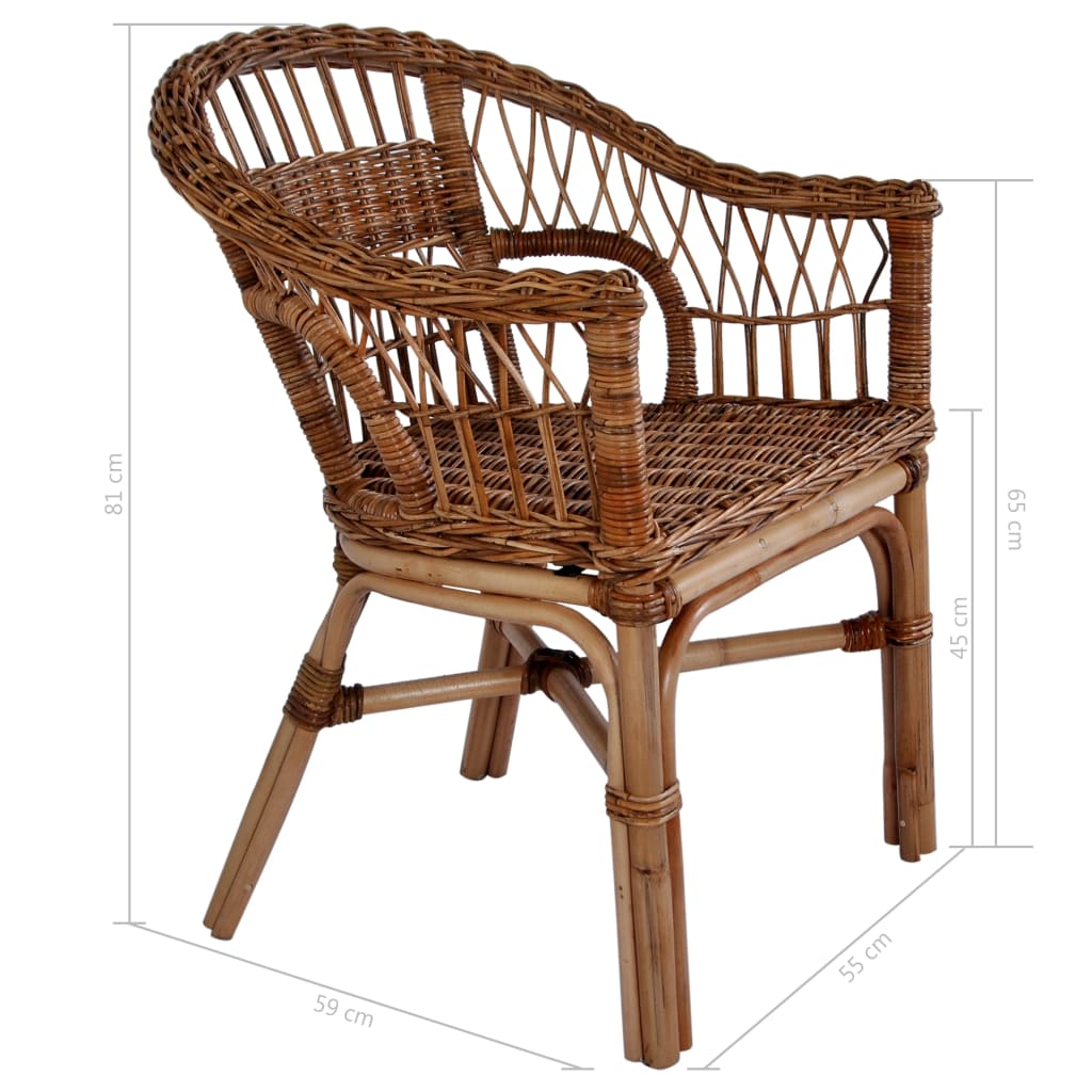 Outdoor Chairs 6 pcs Natural Rattan Brown 9