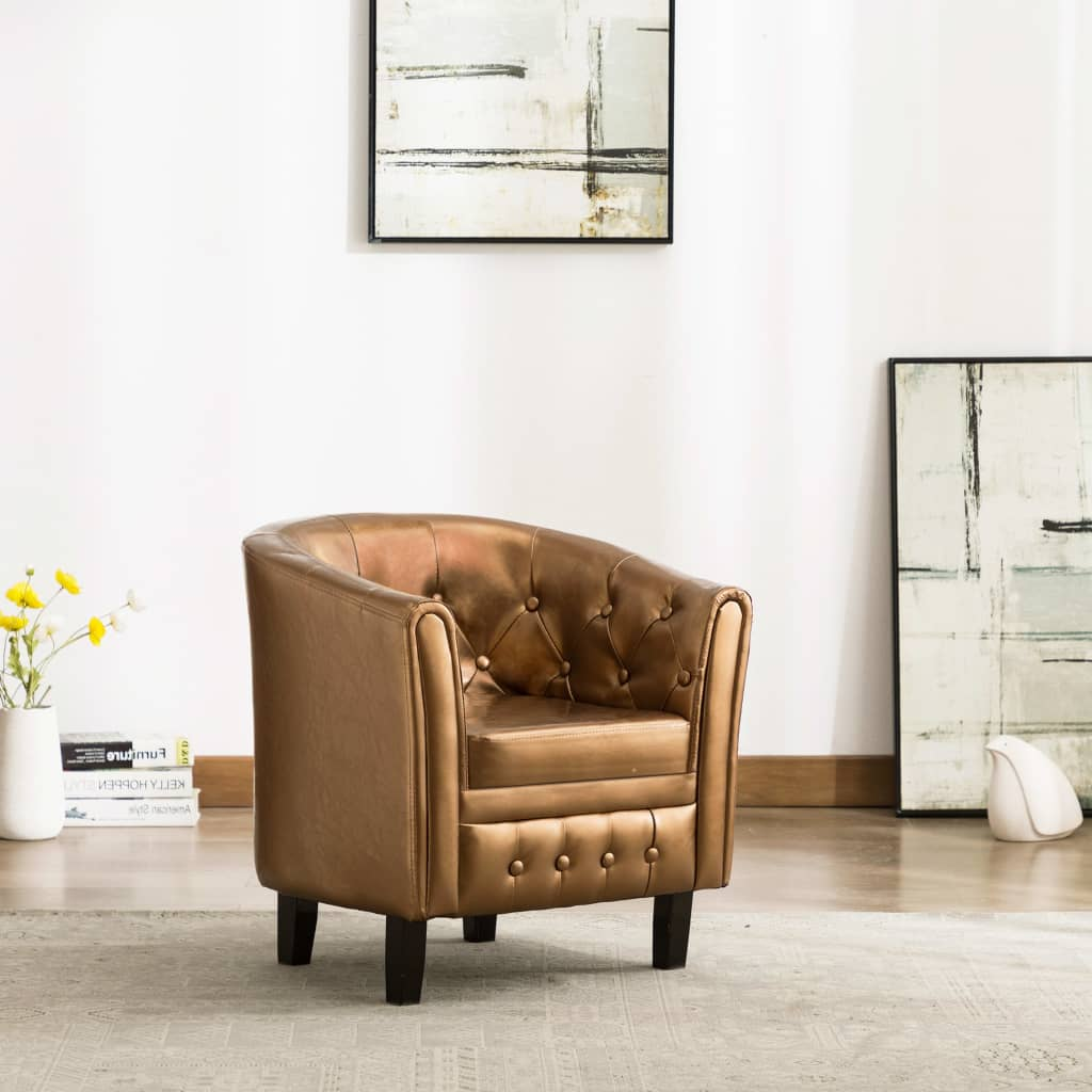Tub Chair Brown Faux Leather 1
