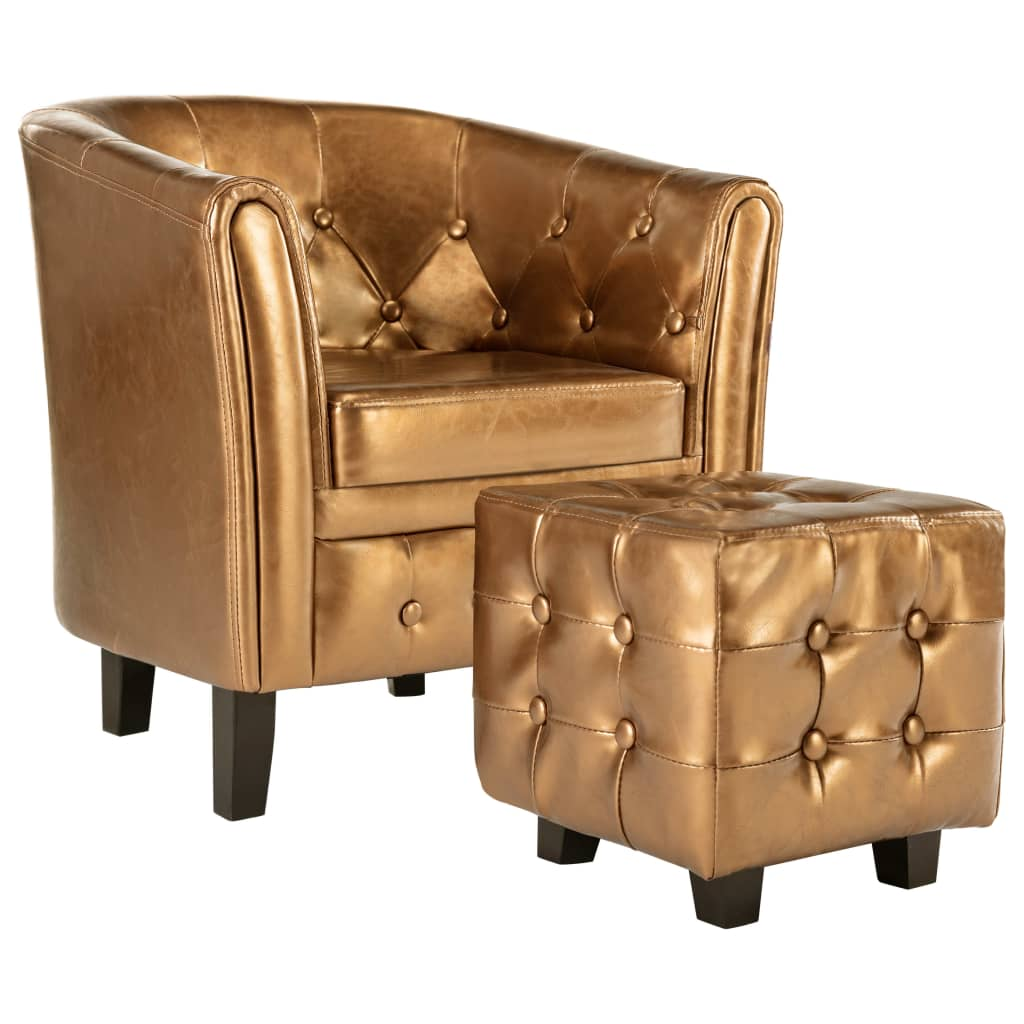 Tub Chair with Footstool Brown Faux Leather 2