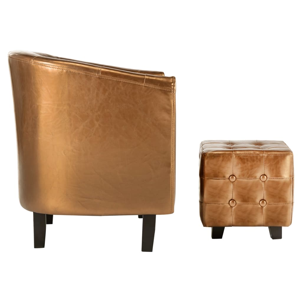 Tub Chair with Footstool Brown Faux Leather 5