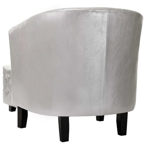 Tub Chair with Footstool Silver Faux Leather 5