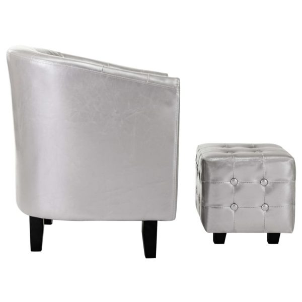 Tub Chair with Footstool Silver Faux Leather 6