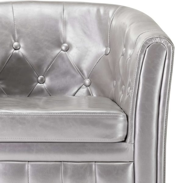Tub Chair with Footstool Silver Faux Leather 8