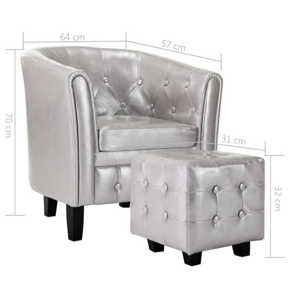 Tub Chair with Footstool Silver Faux Leather 9