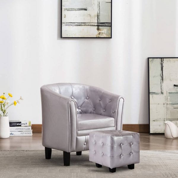 Tub Chair with Footstool Silver Faux Leather 1
