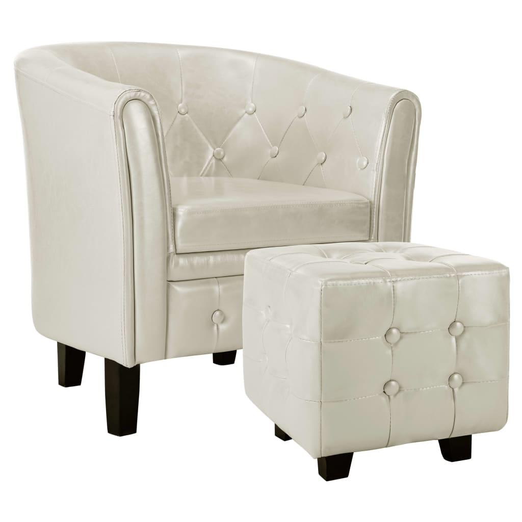 Tub Chair with Footstool White Faux Leather 2