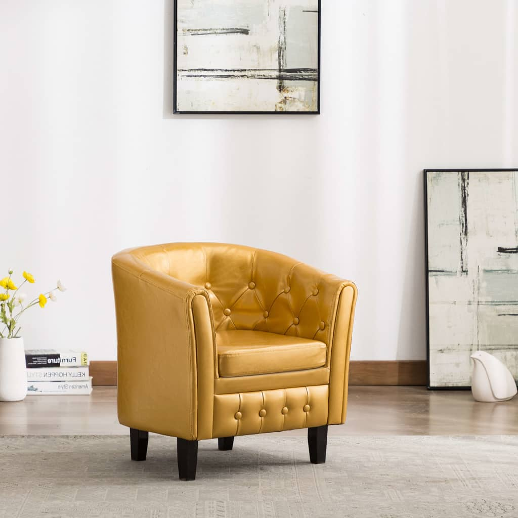 Tub Chair Gold Faux Leather 1