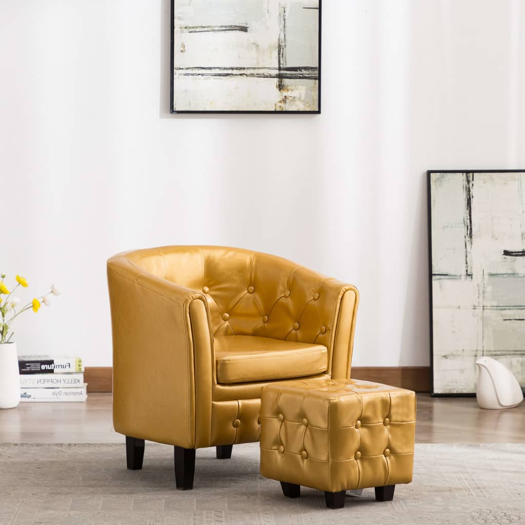 Tub Chair with Footstool Gold Faux Leather 1