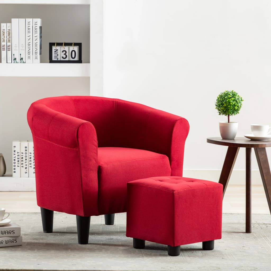 2 Piece Armchair and Stool Set Wine Red Fabric 1