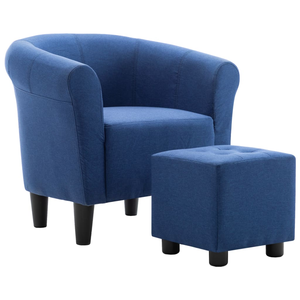 2 Piece Armchair and Stool Set Blue Fabric 2