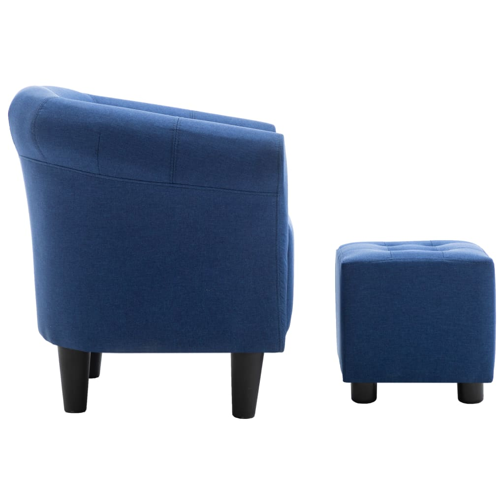 2 Piece Armchair and Stool Set Blue Fabric 4