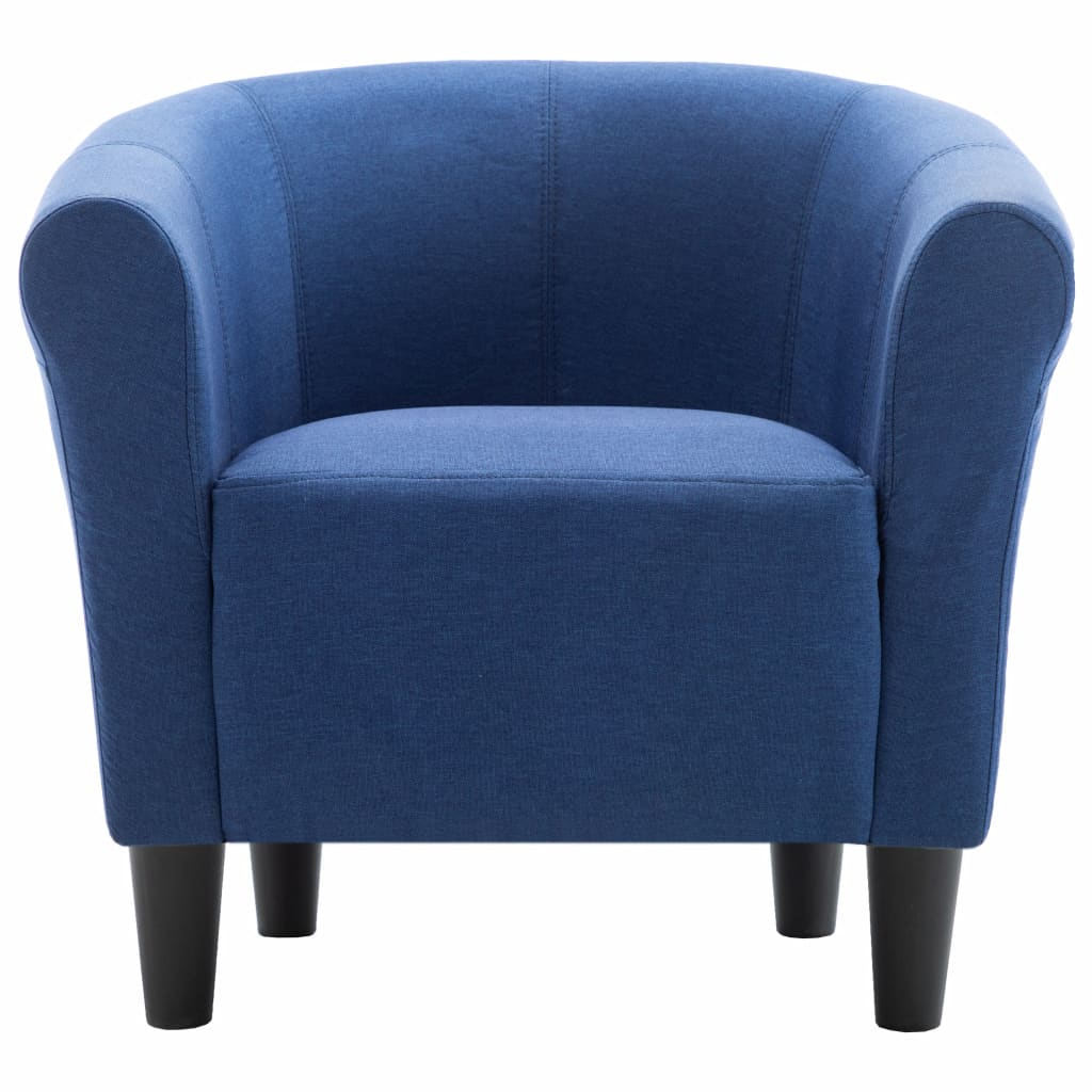 2 Piece Armchair and Stool Set Blue Fabric 6