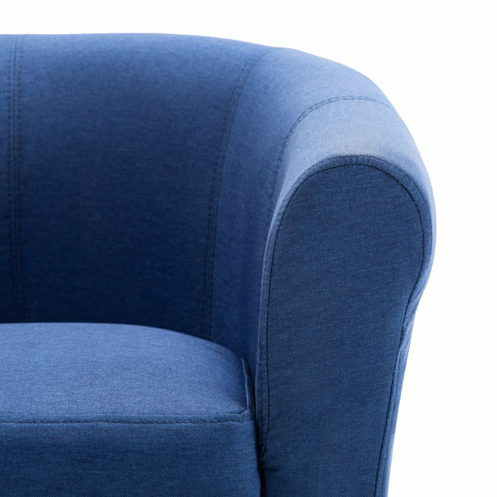 2 Piece Armchair and Stool Set Blue Fabric 7