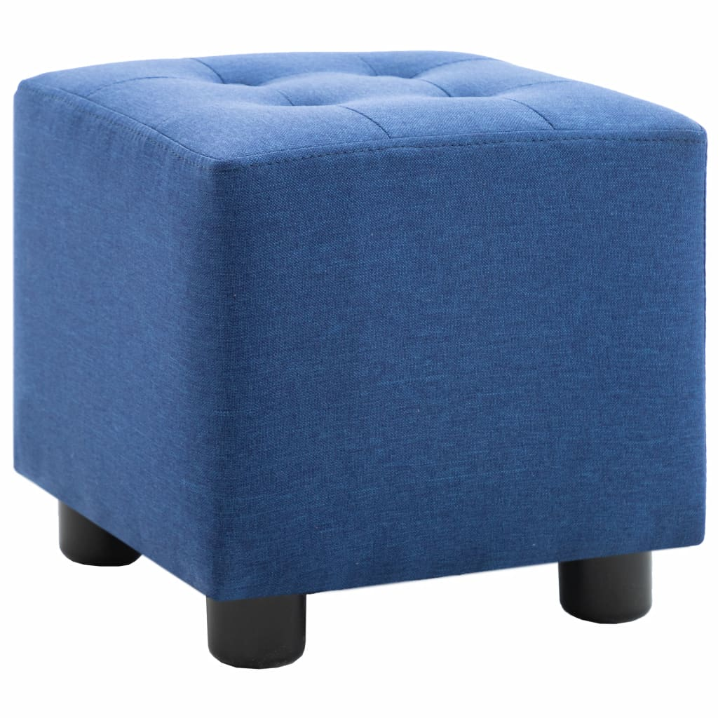 2 Piece Armchair and Stool Set Blue Fabric 8
