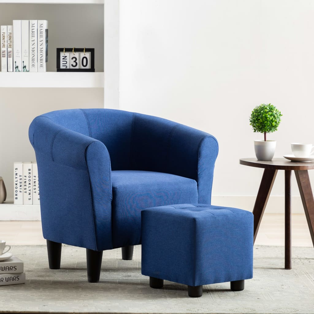 2 Piece Armchair and Stool Set Blue Fabric 1