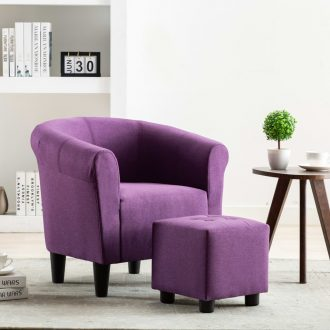 2 Piece Armchair and Stool Set Purple Fabric 1