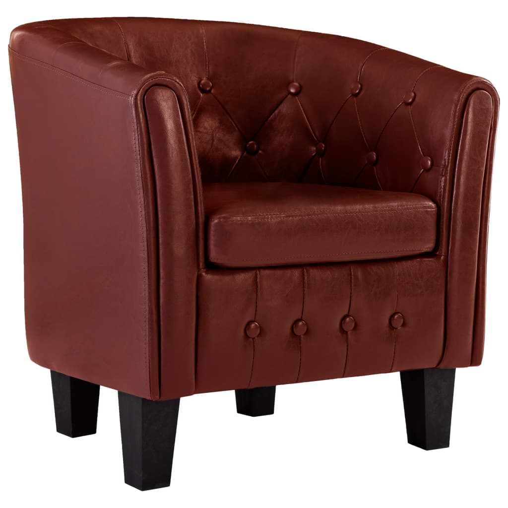 Tub Chair Wine Red Faux Leather 2