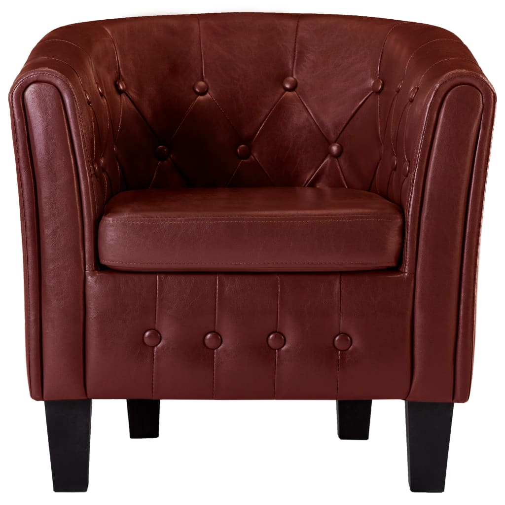 Tub Chair Wine Red Faux Leather 4