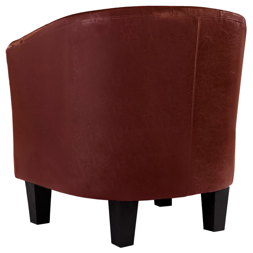 Tub Chair Wine Red Faux Leather 6