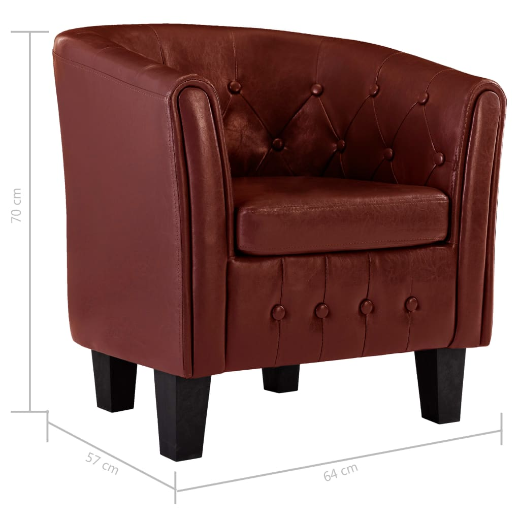 Tub Chair Wine Red Faux Leather 8