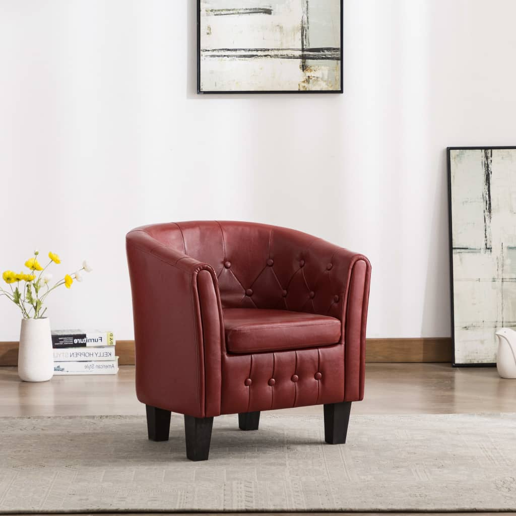 Tub Chair Wine Red Faux Leather 1