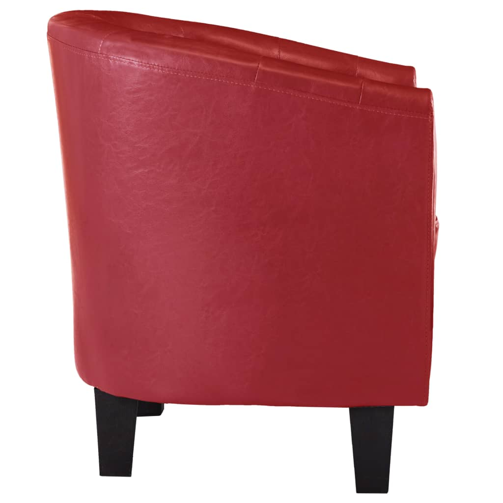 Tub Chair Red Faux Leather 4