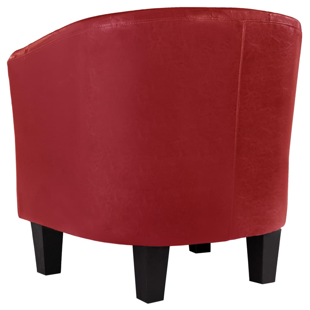 Tub Chair Red Faux Leather 5