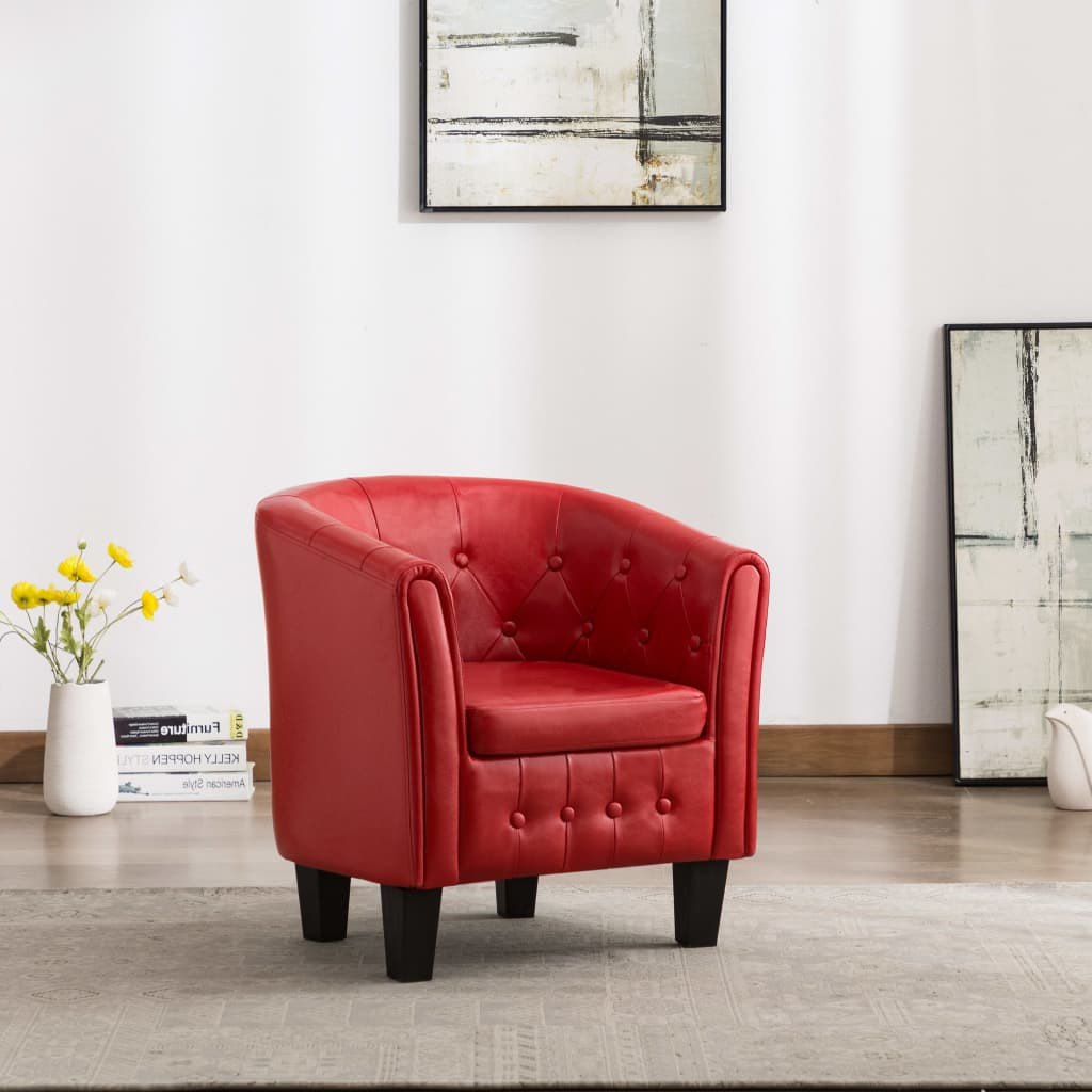 Tub Chair Red Faux Leather 1