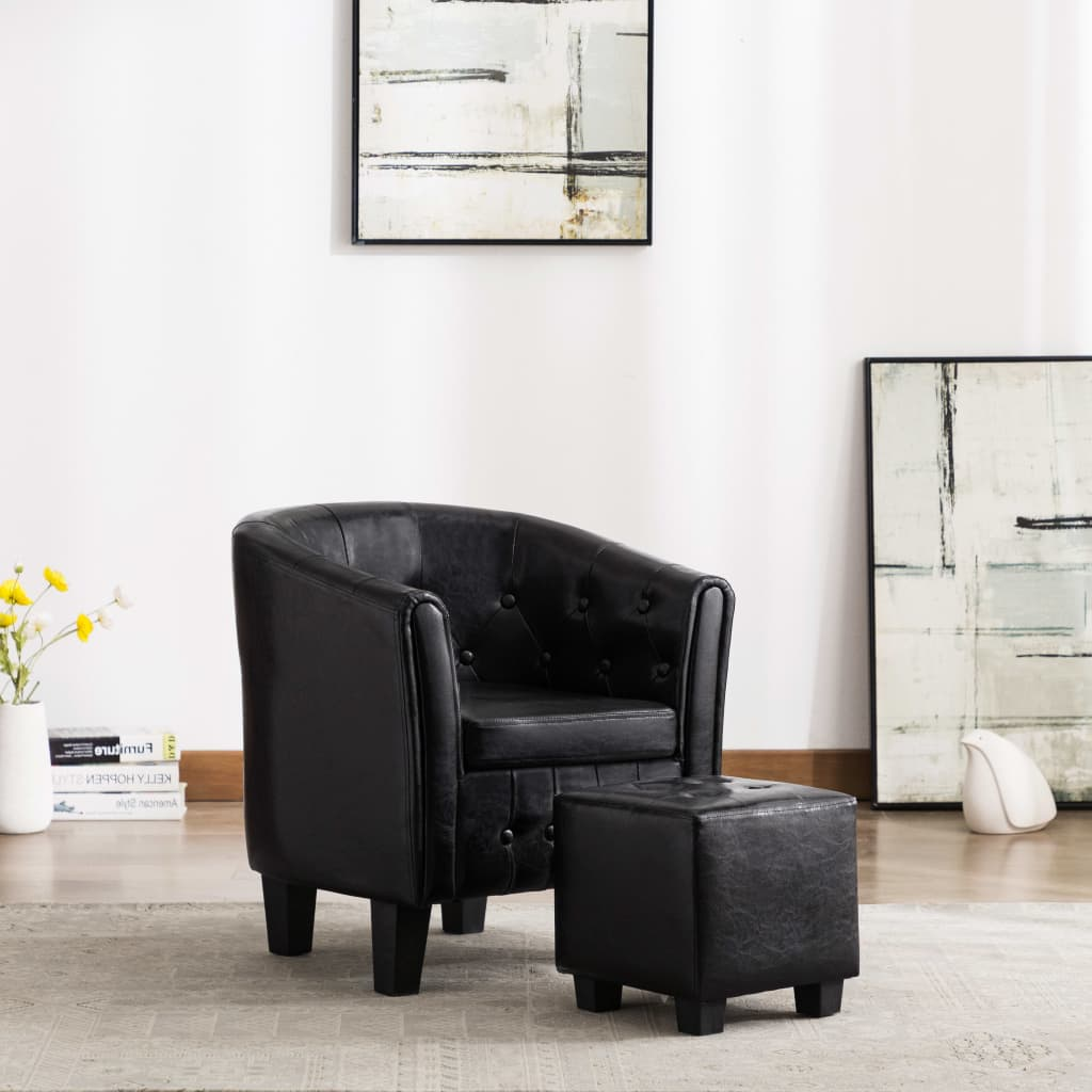 Tub Chair with Footstool Black Faux Leather 1