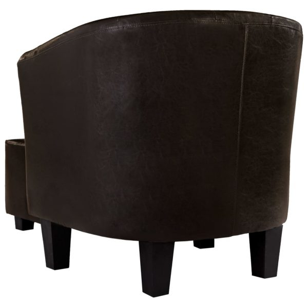 Tub Chair with Footstool Brown Faux Leather 6