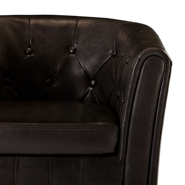 Tub Chair with Footstool Brown Faux Leather 8